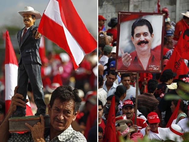 Pessoas levaram imagens e até um boneco representando Manuel Zelaya para aguardar pela chegada do ex-presidente (Foto: AP)