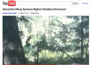 Imagem do vídeo postado no Youtube mostra o que americana acredita ser um pé-grande (Foto: Reprodução)