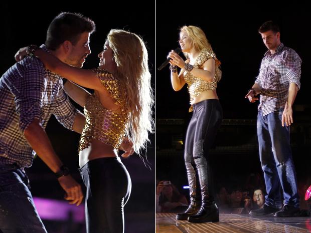 Shakira e Gérard Piqué em momento romântico do show em Barcelona. (Foto: Reuters)