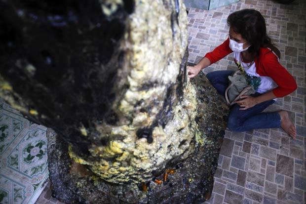 Mulher foi flagrada tentando encontrar números em tronco de árvore para jogar em loteria. (Foto: Damir Sagolj/Reuters)