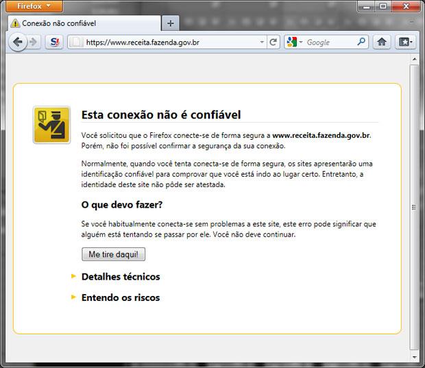 Conexão segura com a Receita Federal é considerada 'não confiável' pelo Firefox porque o navegador não reconhece a ICP-Brasil (Foto: Reprodução)