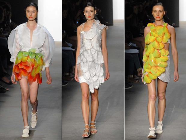 Modelos criados pelo estilista Melk apresentados nesta segunda-feira (30). (Foto: Alexandre Durão/G1)