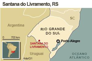 Mapa de Santana do Livramento, no RS (Foto: Editoria de arte G1)