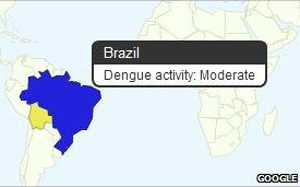 Tela da ferramenta Dengue Trends, da Google (Foto: Google / via BBC)