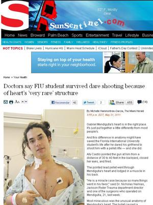 Estudante sobrevive a tiro no peito graças a estrutura rara do coração (Foto: Sun Sentinel / reprodução)