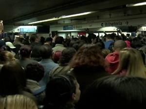 Lotação no Metrô de São Paulo (Foto: Reprodução/TV Globo)