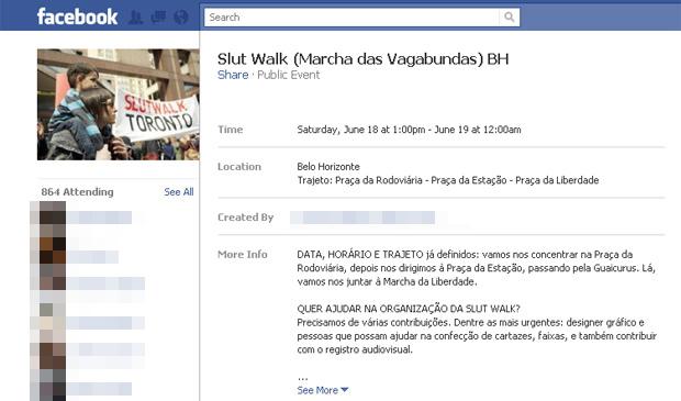 Convocação para a marcha das vagabundas BH, marcada para o próximo dia 18 (Foto: Reprodução)