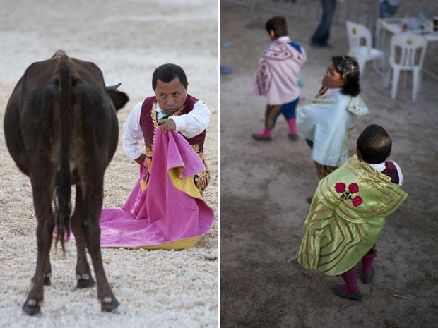 O grupo de toureiros anões surgiu na cidade de Yucatan, no México, e tem também componentes femininas. Na imagem, ao centro, Laura Gonzalez aguarda para entrar na arena. (Foto: Reuters)