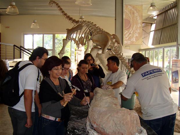 Público pode ver o fóssil de perto no Museu do Dinossauro, em Uberaba (Foto: Luiz Carlos Ribeiro)