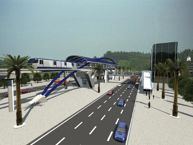 Maquete mostra inserção urbana do monotrilho Linha Ouro (Foto: Reprodução/ Metrô)