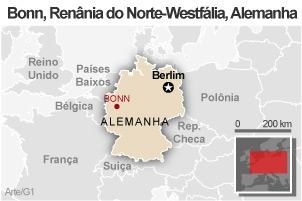Mapa Bonn (Foto: Arte / G1)