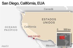 Mapa San Diego (Foto: Arte / G1)