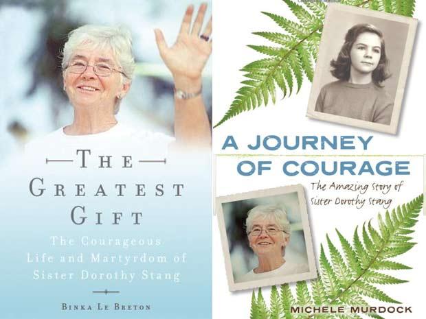 As capas das duas principais biografias da missionária norte-americana Dorothy Stang lançadas nos EUA (Foto: Reprodução)