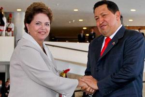 Dilma Rousseff recebeu o presidente da Venezuela, Hugo Chávez, no Palácio do Planalto (Foto: Roberto Stuckert Filho / Presidência)