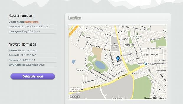 Localização do notebook perdido (Foto: Reprodução)