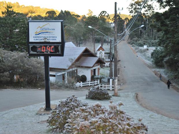 Termômetros registraram - 4°C em Monte Verde (Foto: Marcos Paulo de Souza/Associação de Hotéis e Pousadas de Monte Verde )