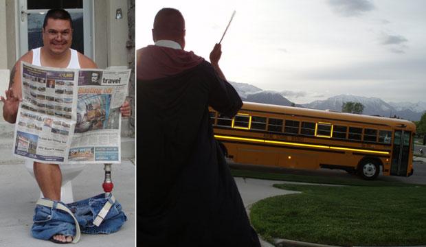 À esquerda, com um vaso sanitário, e à direita encarnando o personagem 'Harry Potter' enquanto o ônibus escolar passa levando o filho (Foto: Reprodução/Internet)