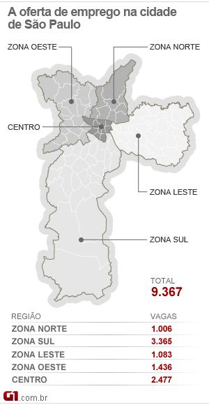 Mapa de emprego na cidade de SP (Foto: Arte/G1)