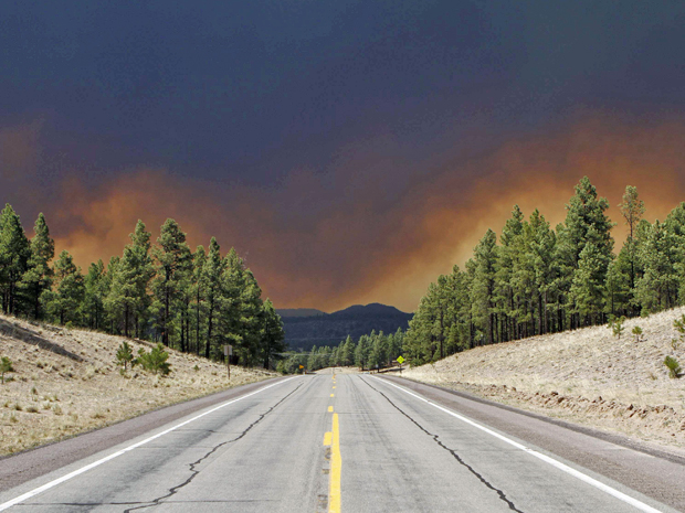 Incêndio florestal atinge o Arizona, nos Estados Unidos (Foto: Joshua Lott/Reuters)