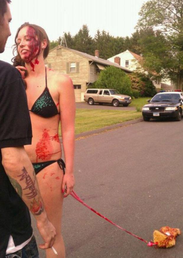Uma das 'zumbis' que amedrontou um morador em Connecticut, nos EUA (Foto: Reprodução/Internet)