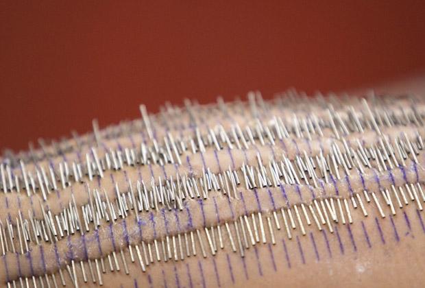 Ela afirmou ter batido o recorde de piercings corporais colocados de uma só vez. (Foto: AP)
