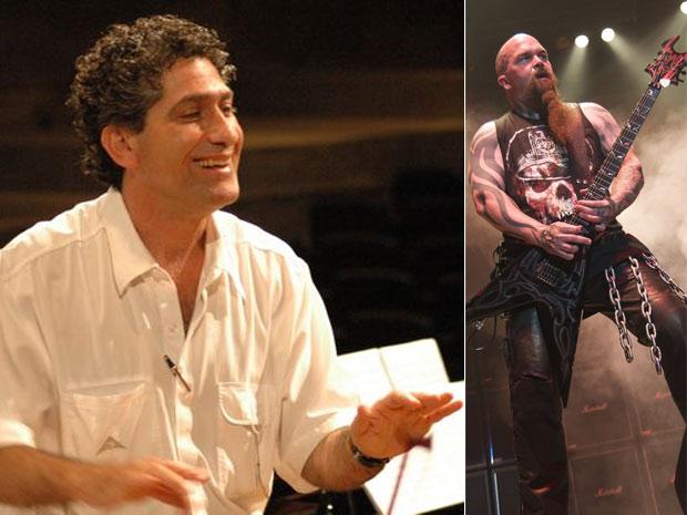 Composição de fotos mostra o guitarrista do Slayer, à direita, e o maestro Gil Jardim, que avaliou o grupo a pedido do G1. (Foto: Reprodução)