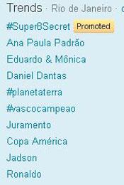 Trending Topics no Rio às 12h35 (Foto: Reprodução)