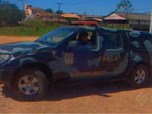 Comboio chegou nesta quarta-feira com homens da Força Nacional (Foto: Reprodução/TV Marabá)