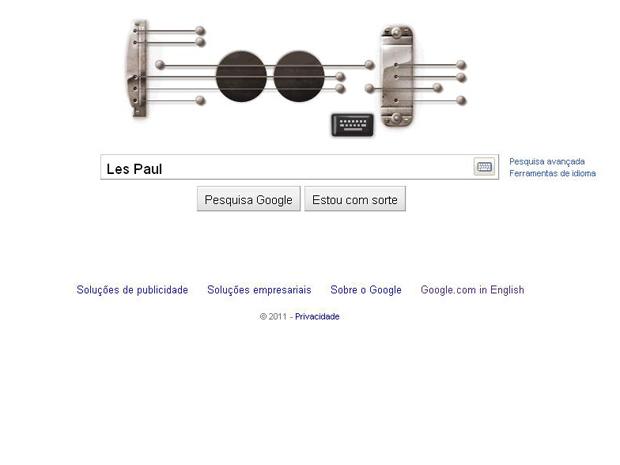 Página do Google desta quinta-feira (9), com o logotipo que simula o som de uma Gibson Les Paul (Foto: Reprodução)