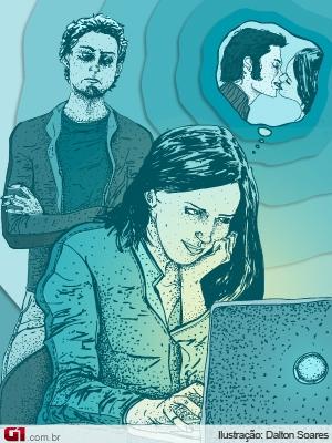 Ilustração para matéria sobre traição na internet (Foto: Arte/G1)