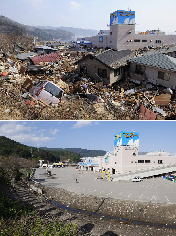 Imagens mostram estacionamento de shopping center em Otsuchi, na província japonesa de Iwate, em 13 de março, dois dias depois do devastador terremoto seguido de tsunami que atingiu a região, e a mesma área, em 3 de junho. O Japão ainda tenta se recuperar (Foto: AP)