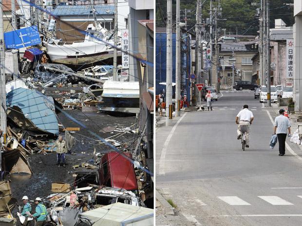 Rua em Miyako, na prefeitura de Iwate, em 12 de março e, reconstruída, em 4 de junho. (Foto: AP)