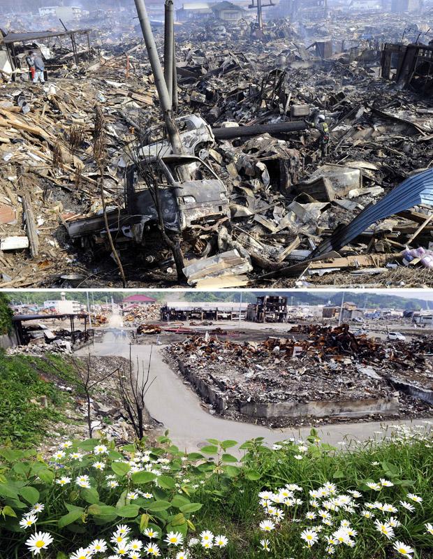 Destroços em 13 de março em Kesennuma, província de Miyagi, e a mesma região recuperada em 3 de junho, com plantação de margaridas (Foto: AP)