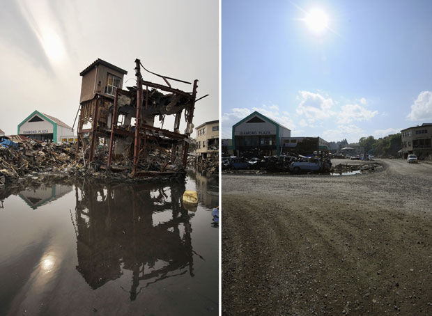 Bairro de Kesennuma foi alagado pelo tsunami. As fotos são de 20 de março e de 3 de junho (Foto: AP)