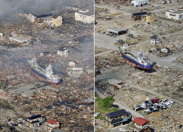 Área residencial em Kesennuma, que foi invadida por um enorme navio levado pela força das águas (Foto: AP)