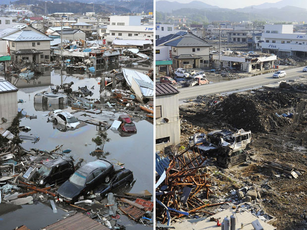 Bairro de Kesennuma estava alagado após o tsunami ocorrido em março (Foto: AP)