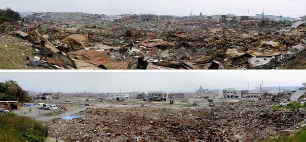 Imagens panorâmicas mostram antes e depois de área residencial devastada na cidade de Ishinomaki (Foto: AP)