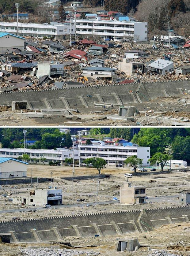 Fotos de 23 de março e de 3 de junho mostram a mesma área, na cidade de Miyako, para onde várias casas foram arrastadas pelo tsunami, e após trabalho de limpeza realizado no local (Foto: AP)