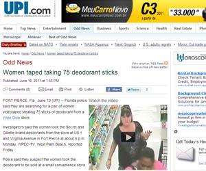 Câmeras do supermercado flagraram mulheres saindo com os 75 frascos (Foto: Reprodução)