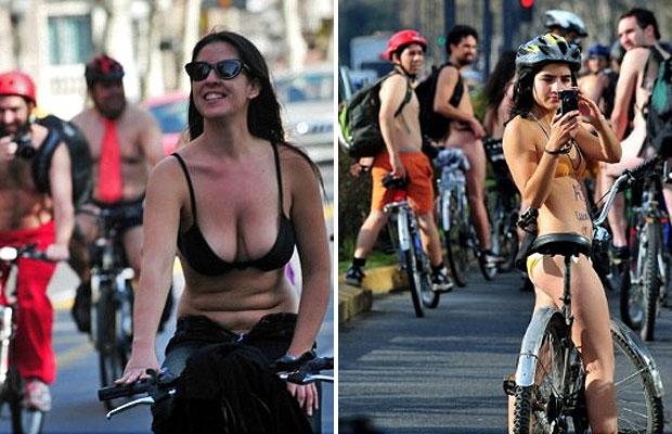 Ativistas andaram de bicicleta pelados em uma demonstração de apoio aos direitos dos ciclistas em Santiago, no Chile. (Foto: Martin Bernetti, AFP)