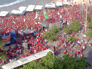 Protesto em Copacabana (Foto: Thamine Leta/G1)