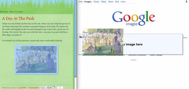 Usuário precisa apenas arrastar a foto para a barra de buscas do Google para fazer a pesquisa (Foto: Divulgação)