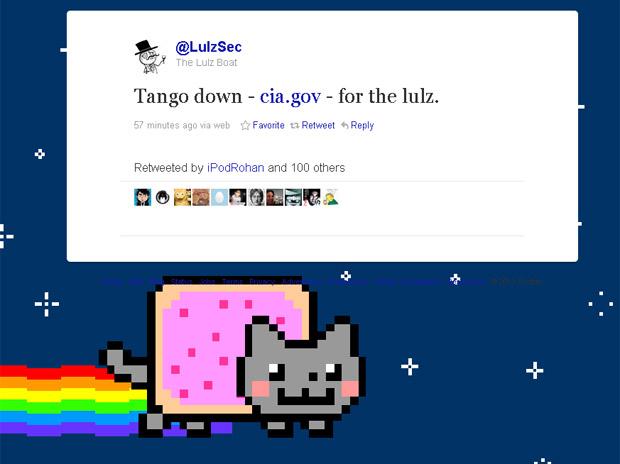 Grupo anuncia pelo Twitter invasão do site da CIA (Foto: Reprodução)