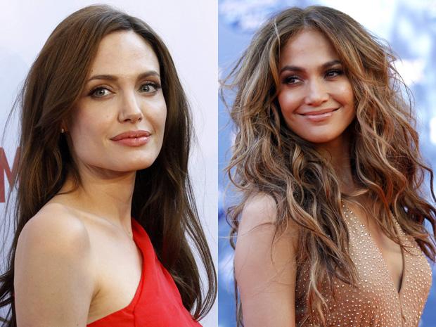 Angelina Jolie e Jennifer Lopez: parece um rosto natural, mas ambas estão usando o 'make de bonita'.  (Foto: Reuters)