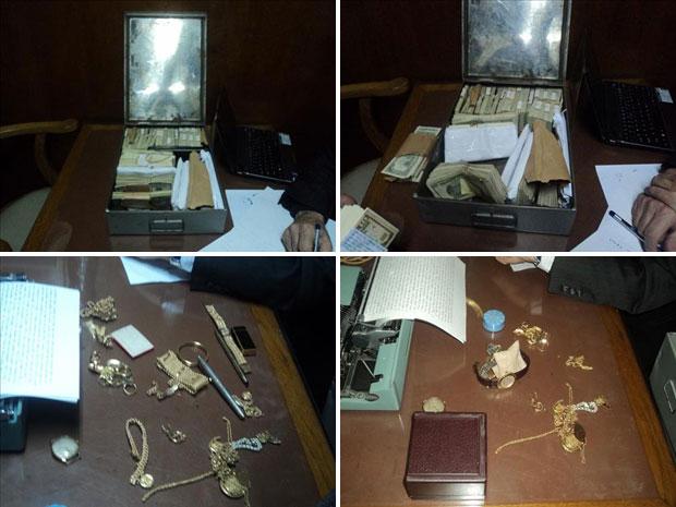Dinheiro e joias encontrados no banco roubado (Foto: Policia Federal argentina)