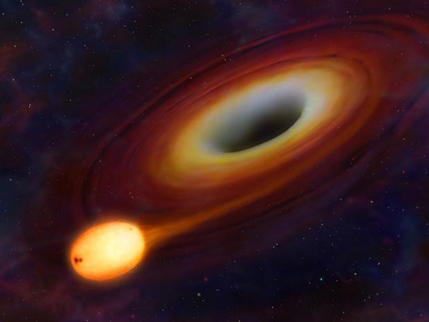 Estrela é 'engolida' após contato com buraco negro. (Foto: Mark A. Garlick / Universidade de Warwick)