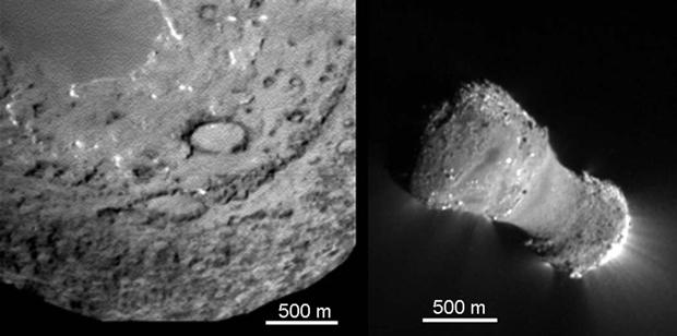 As imagens comparam os cometas Tempel 1 (esquerda) e Hartley 2 (direita), registradas com o mesmo equipamento e exibidas com a mesma escala (Foto: Science/AAAS/Cortesia)