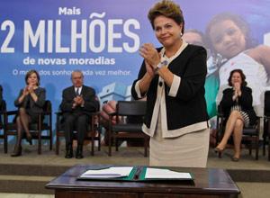 """Dilma durante o lançamento da segunda etapa do programa """"Minha Casa, Minha Vida"""" (Foto: Roberto Stuckert Filho / Presidência)"""