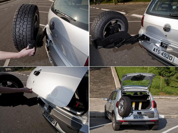 Abertura do porta-malas do CrossFox é mais simples, mas pneu atrapalha visibilidade (Foto: Daigo Oliva/G1)