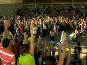 Assembleia de professores do Mato Grosso (Foto: TV Globo/Reprodução)